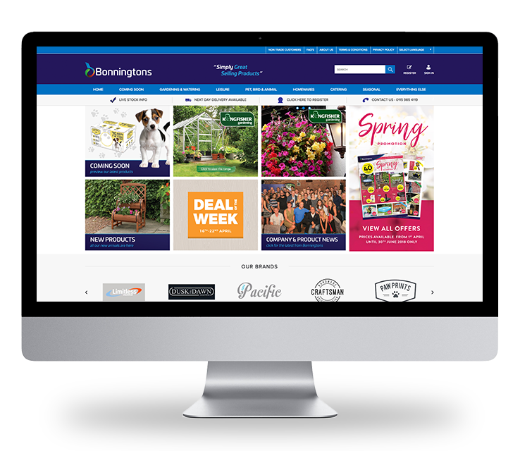 Bonningtons Website's New Homepage