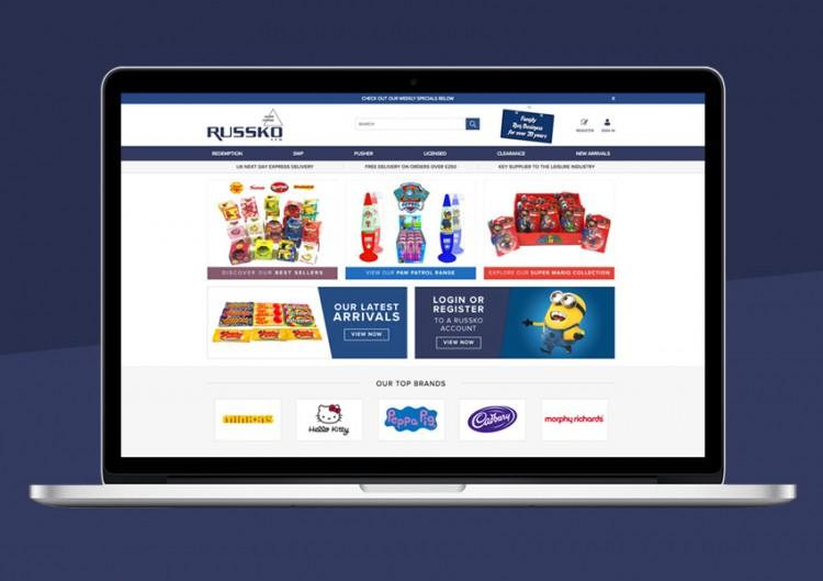 Russko website for B2B toy sales