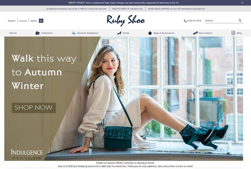 Screenshot of Ruby Shoo homepage